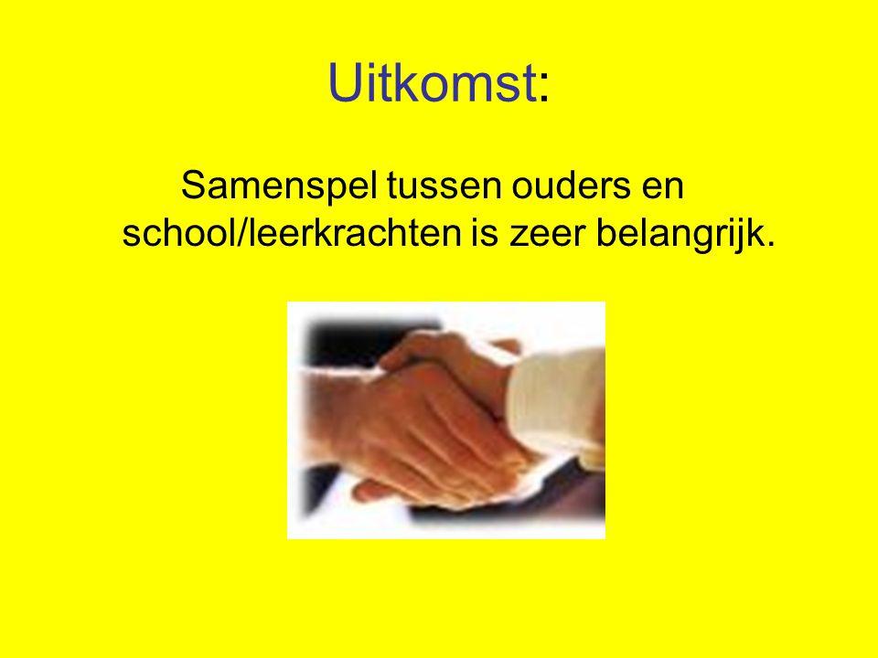 Uitkomst: Samenspel tussen ouders en school/leerkrachten is zeer belangrijk.