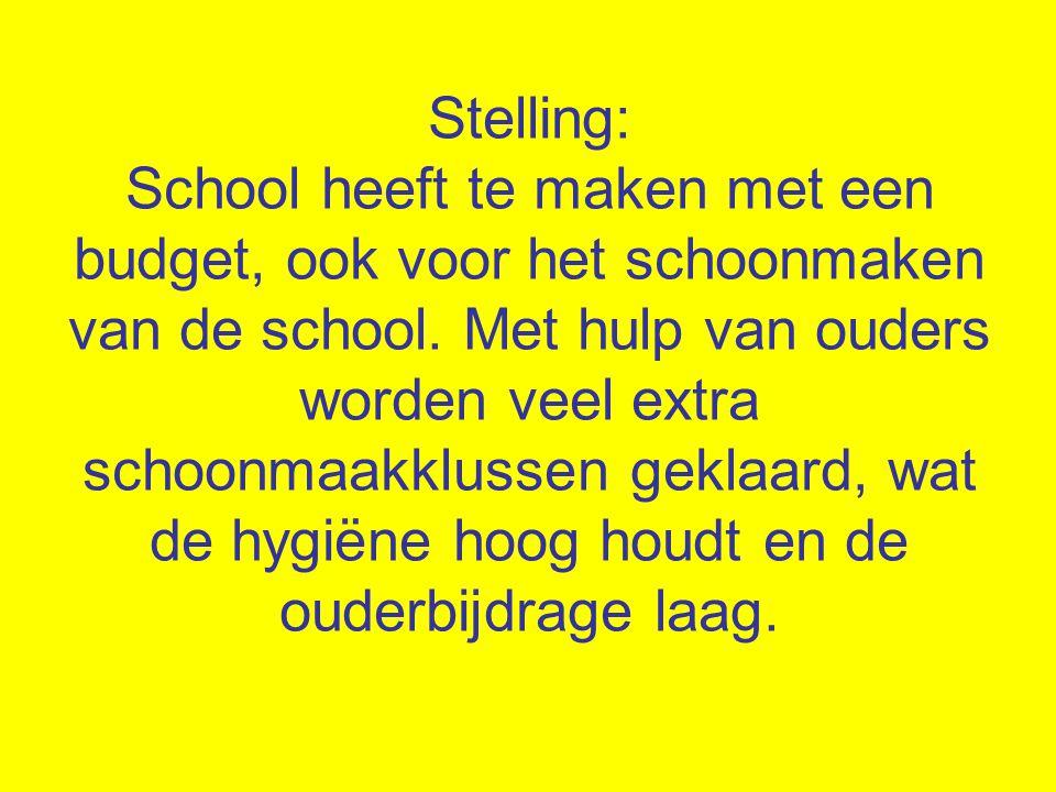 Stelling: School heeft te maken met een budget, ook voor het schoonmaken van de school. Met hulp van ouders worden veel extra schoonmaakklussen geklaa