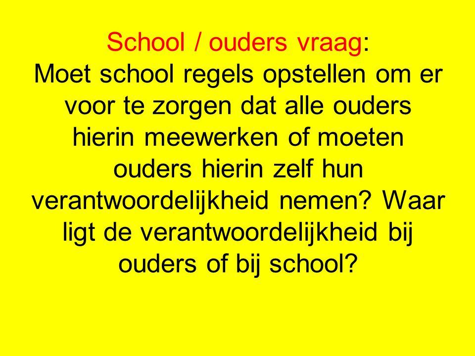 School / ouders vraag: Moet school regels opstellen om er voor te zorgen dat alle ouders hierin meewerken of moeten ouders hierin zelf hun verantwoord
