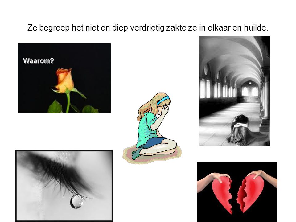 Ze begreep het niet en diep verdrietig zakte ze in elkaar en huilde.
