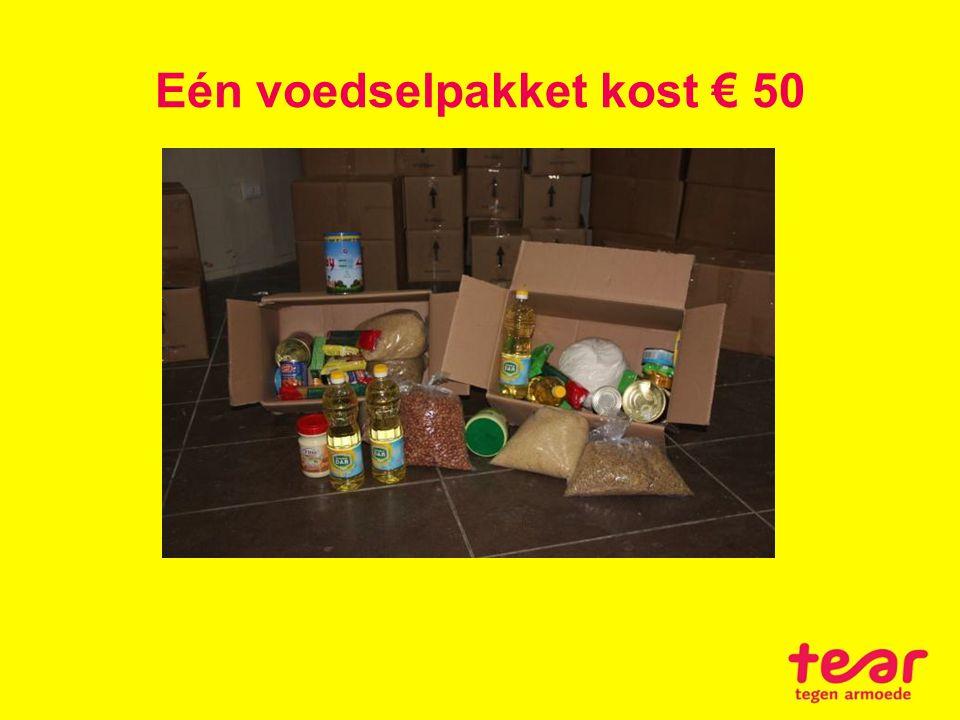 Eén voedselpakket kost € 50