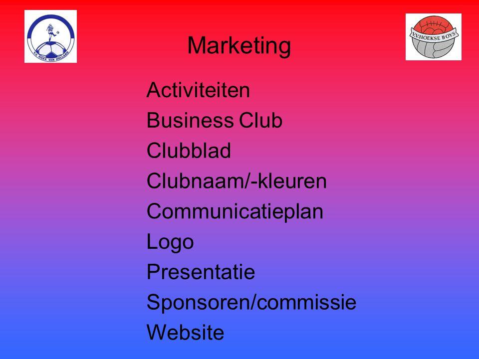 Marketing Activiteiten Business Club Clubblad Clubnaam/-kleuren Communicatieplan Logo Presentatie Sponsoren/commissie Website