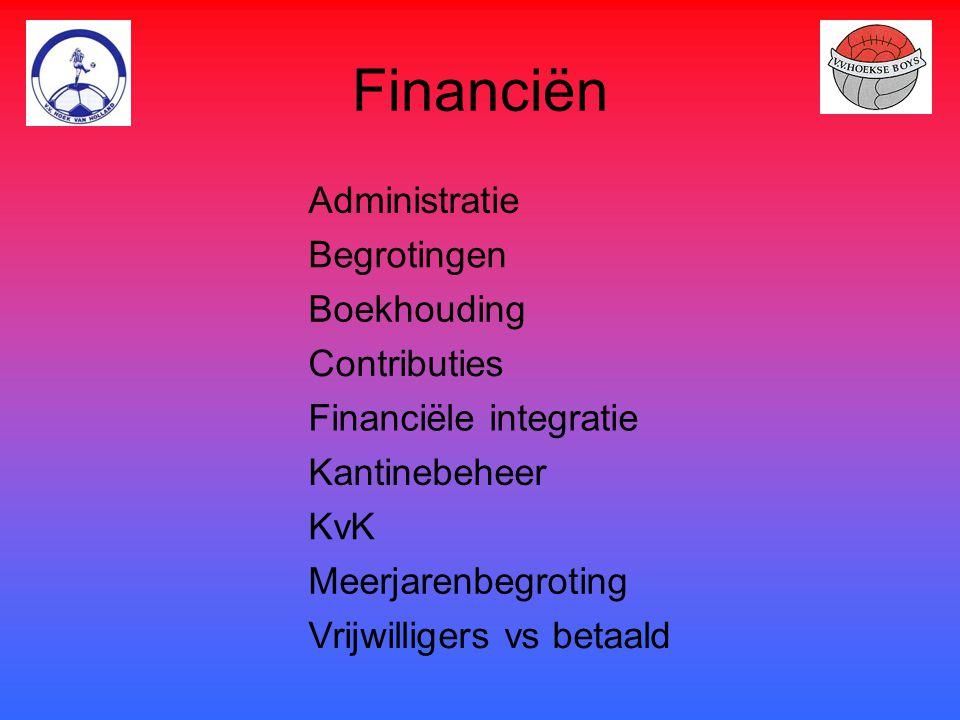 Financiën Administratie Begrotingen Boekhouding Contributies Financiële integratie Kantinebeheer KvK Meerjarenbegroting Vrijwilligers vs betaald