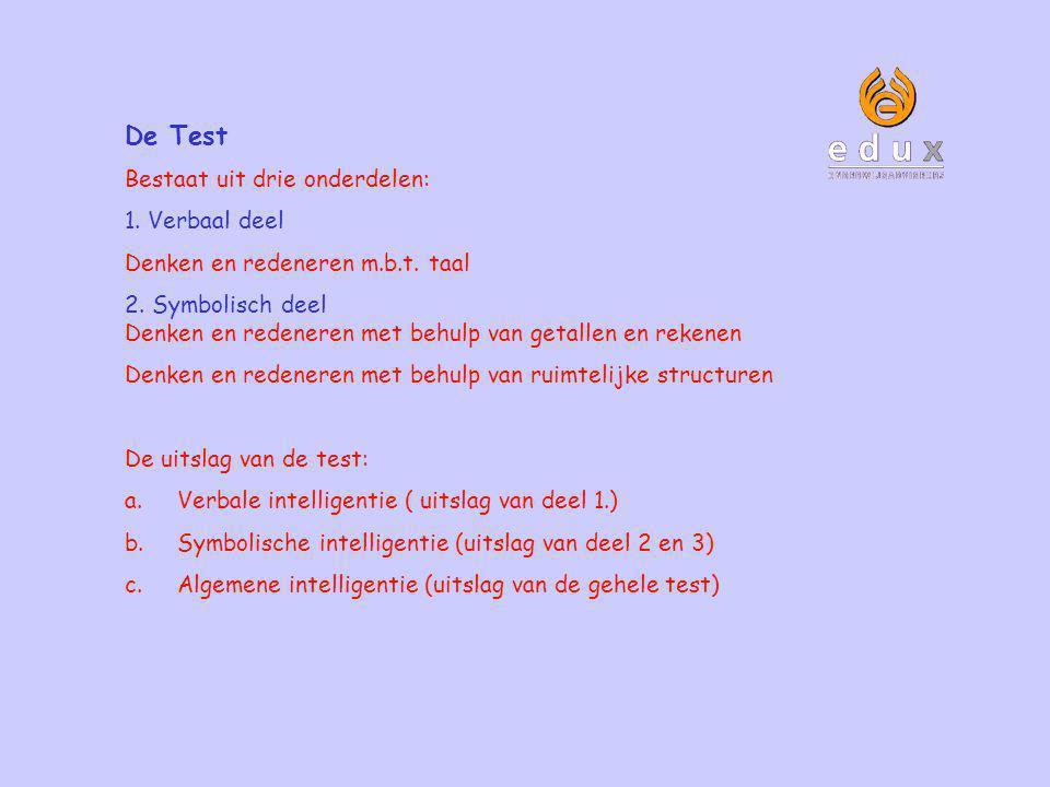 De Test Bestaat uit drie onderdelen: 1. Verbaal deel Denken en redeneren m.b.t. taal 2. Symbolisch deel Denken en redeneren met behulp van getallen en