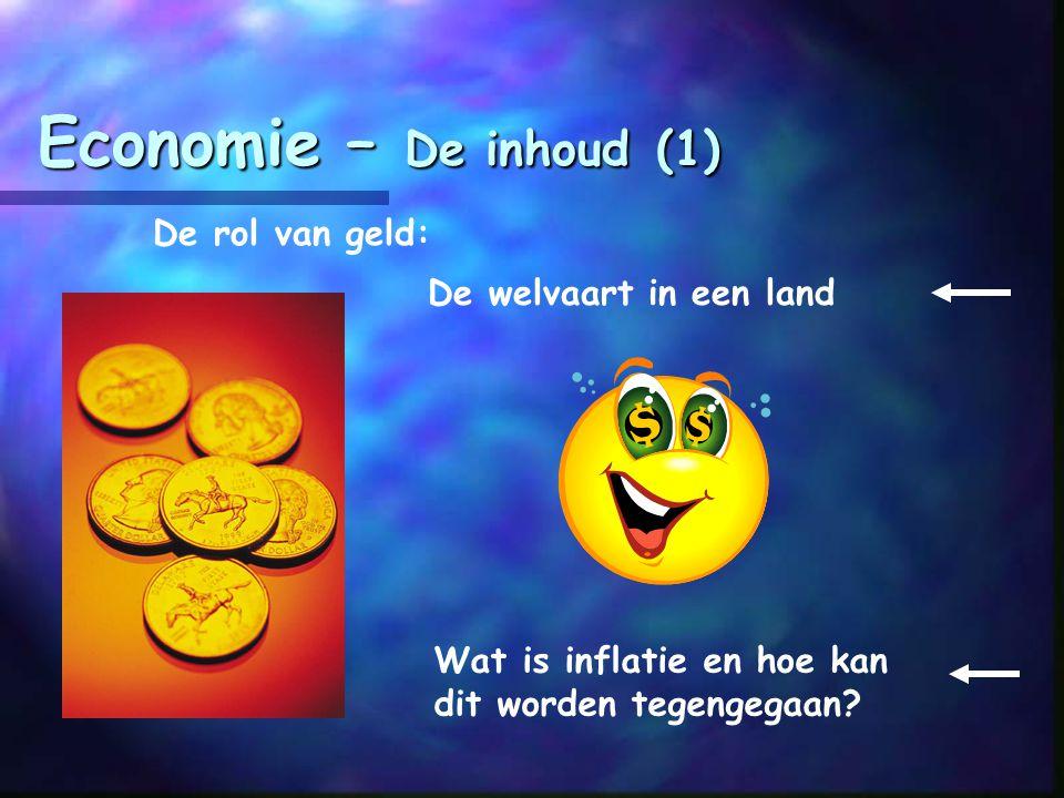 Economie – De inhoud (1) De rol van geld: De welvaart in een land Wat is inflatie en hoe kan dit worden tegengegaan?