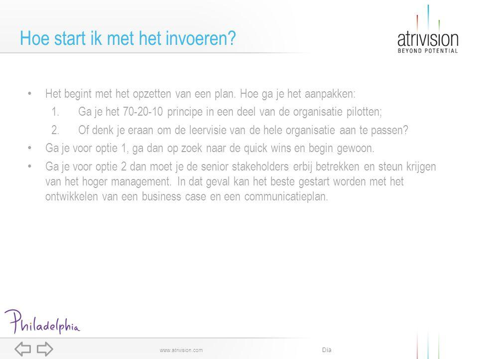 Dia www.atrivision.com Het begint met het opzetten van een plan. Hoe ga je het aanpakken: 1.Ga je het 70-20-10 principe in een deel van de organisatie