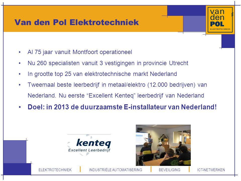 Van den Pol Elektrotechniek Al 75 jaar vanuit Montfoort operationeel Nu 260 specialisten vanuit 3 vestigingen in provincie Utrecht In grootte top 25 v