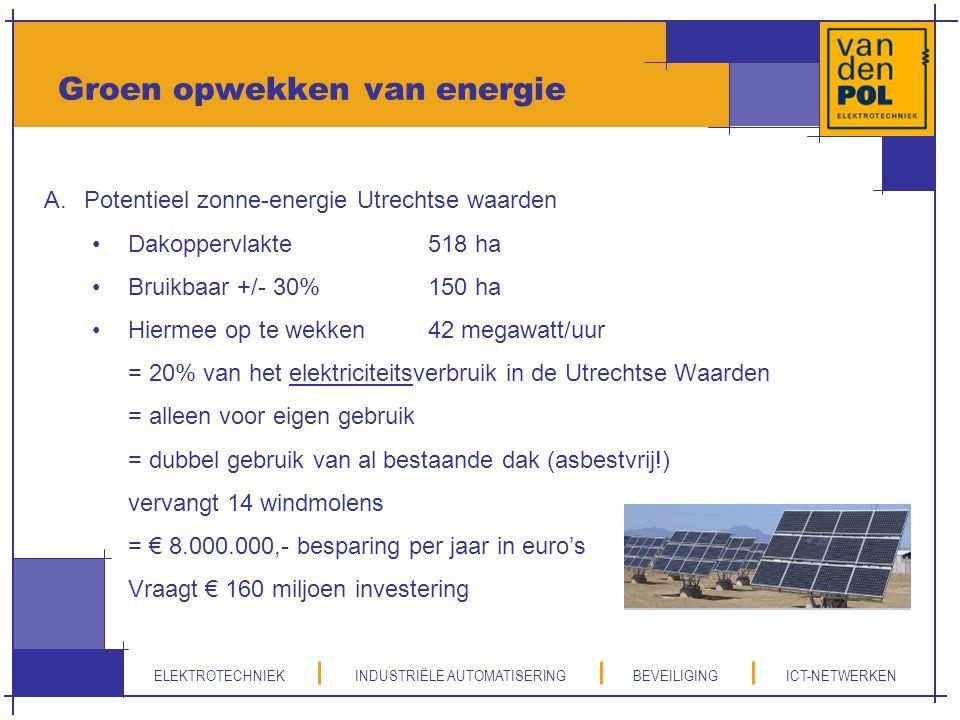ELEKTROTECHNIEK INDUSTRIËLE AUTOMATISERING BEVEILIGING ICT-NETWERKEN Groen opwekken van energie A.Potentieel zonne-energie Utrechtse waarden Dakopperv