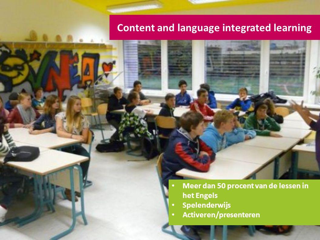 Content and language integrated learning Meer dan 50 procent van de lessen in het Engels Spelenderwijs Activeren/presenteren