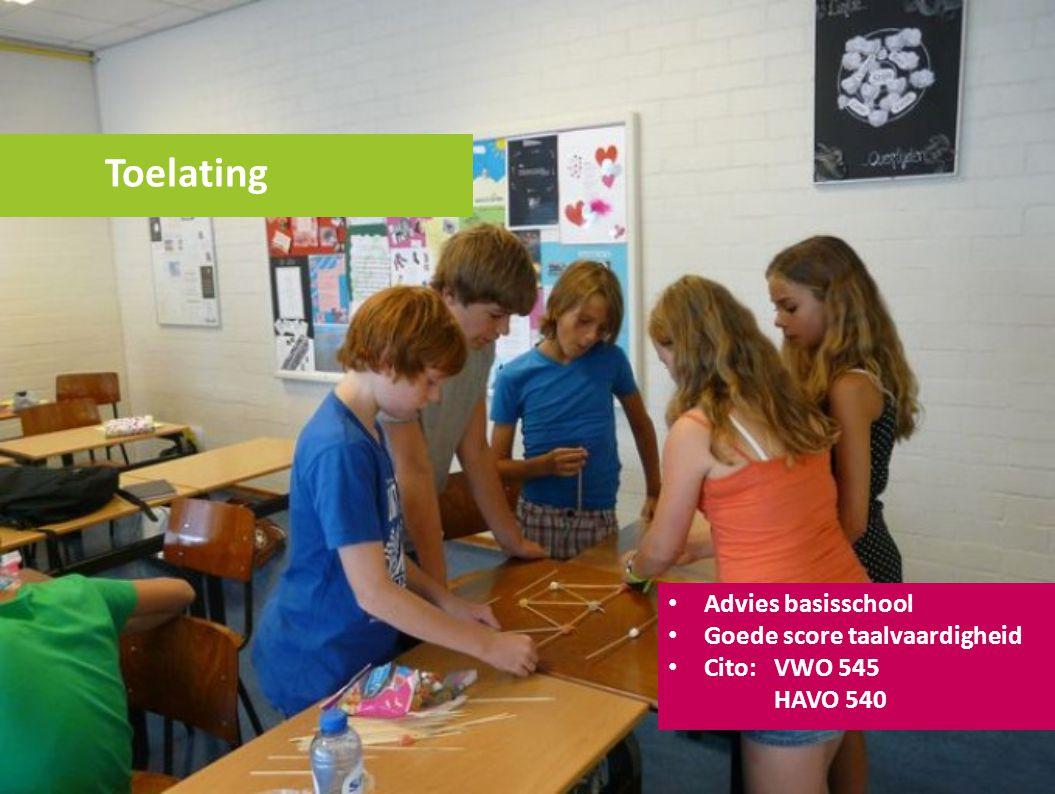 Toelating Advies basisschool Goede score taalvaardigheid Cito: VWO 545 HAVO 540