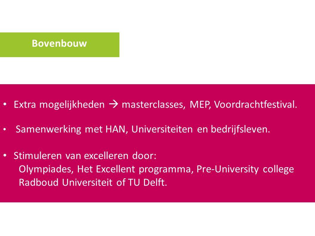 Bovenbouw Extra mogelijkheden  masterclasses, MEP, Voordrachtfestival. Samenwerking met HAN, Universiteiten en bedrijfsleven. Stimuleren van exceller