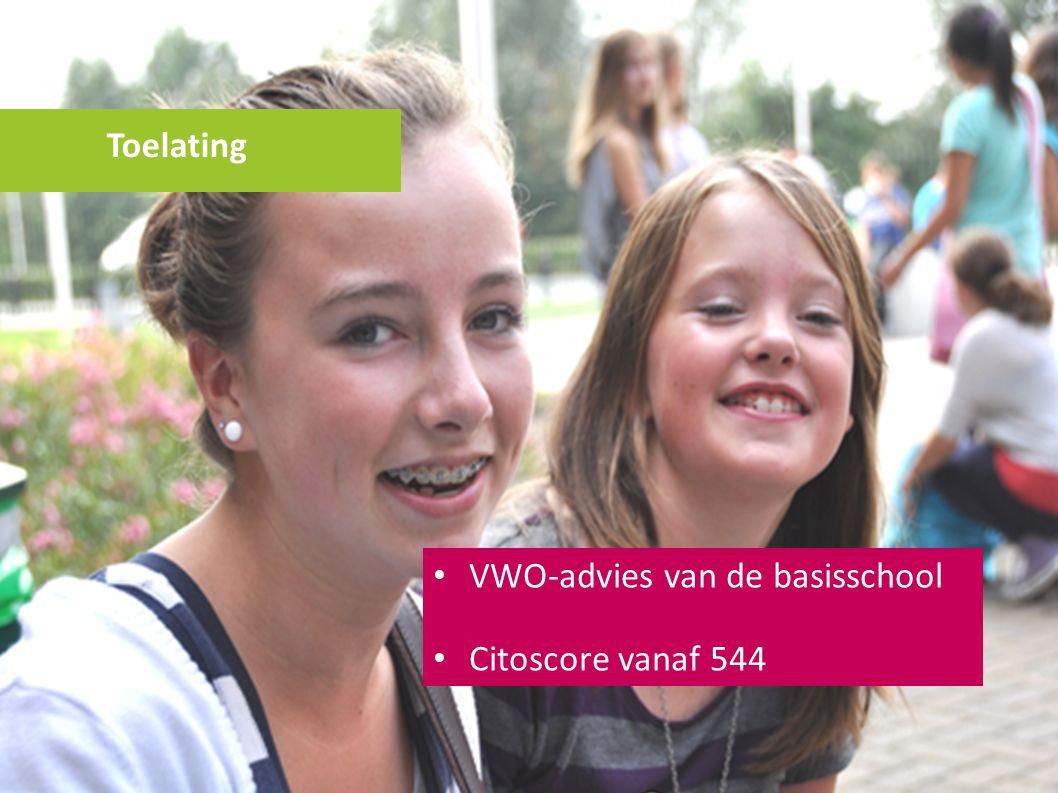 VWO-advies van de basisschool Citoscore vanaf 544 Toelating