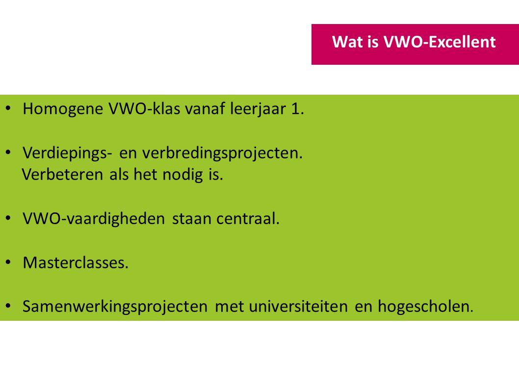 Homogene VWO-klas vanaf leerjaar 1. Verdiepings- en verbredingsprojecten. Verbeteren als het nodig is. VWO-vaardigheden staan centraal. Masterclasses.