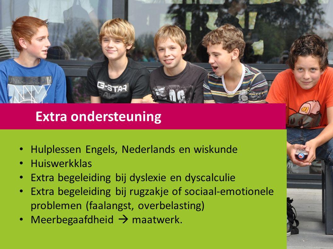 Hulplessen Engels, Nederlands en wiskunde Huiswerkklas Extra begeleiding bij dyslexie en dyscalculie Extra begeleiding bij rugzakje of sociaal-emotionele problemen (faalangst, overbelasting) Meerbegaafdheid  maatwerk.