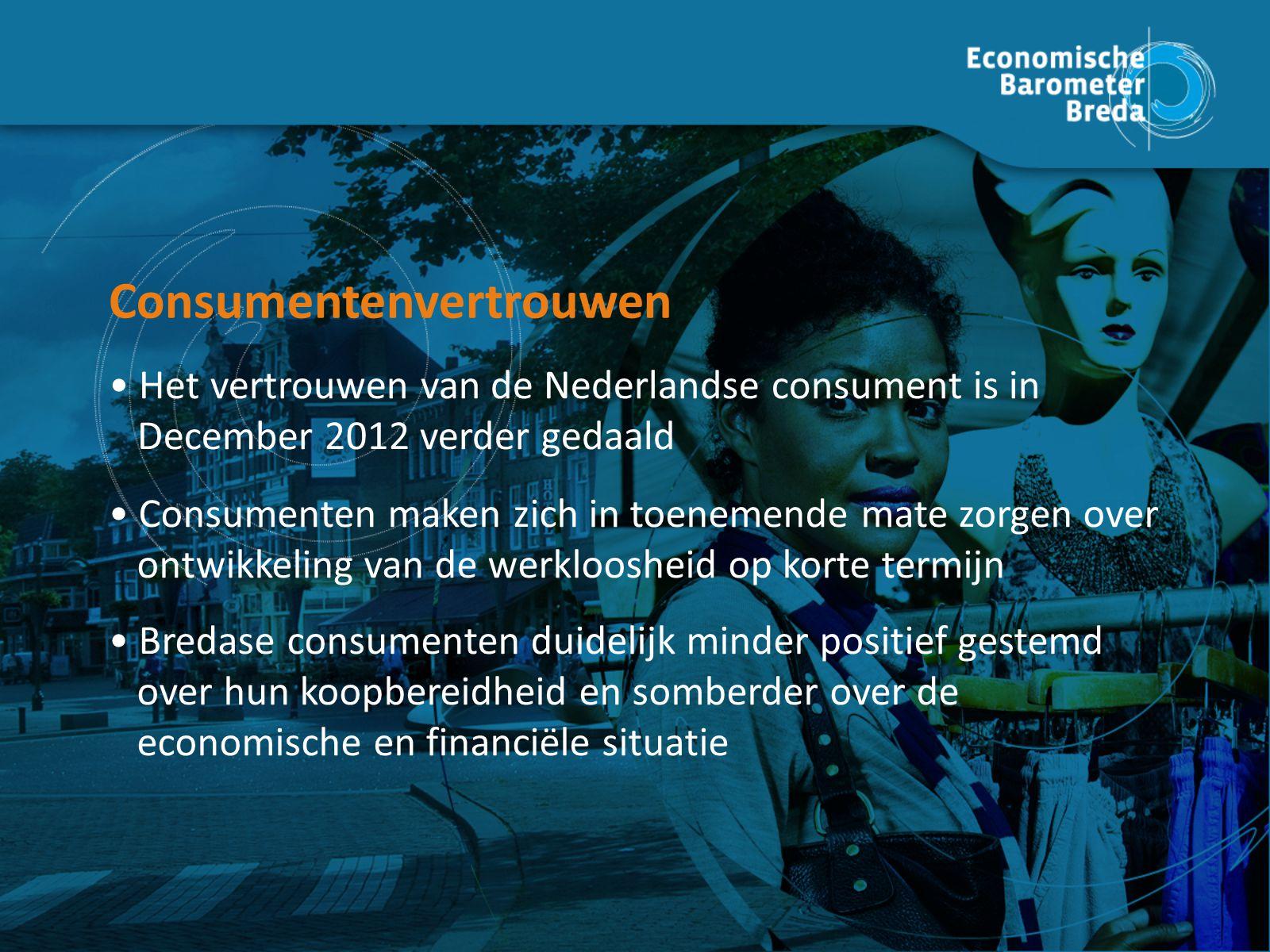 Consumente nvertrouwen Het vertrouwen van de Nederlandse consument is in December 2012 verder gedaald Consumentenvertrouwen Consumenten maken zich in toenemende mate zorgen over ontwikkeling van de werkloosheid op korte termijn Bredase consumenten duidelijk minder positief gestemd over hun koopbereidheid en somberder over de economische en financiële situatie