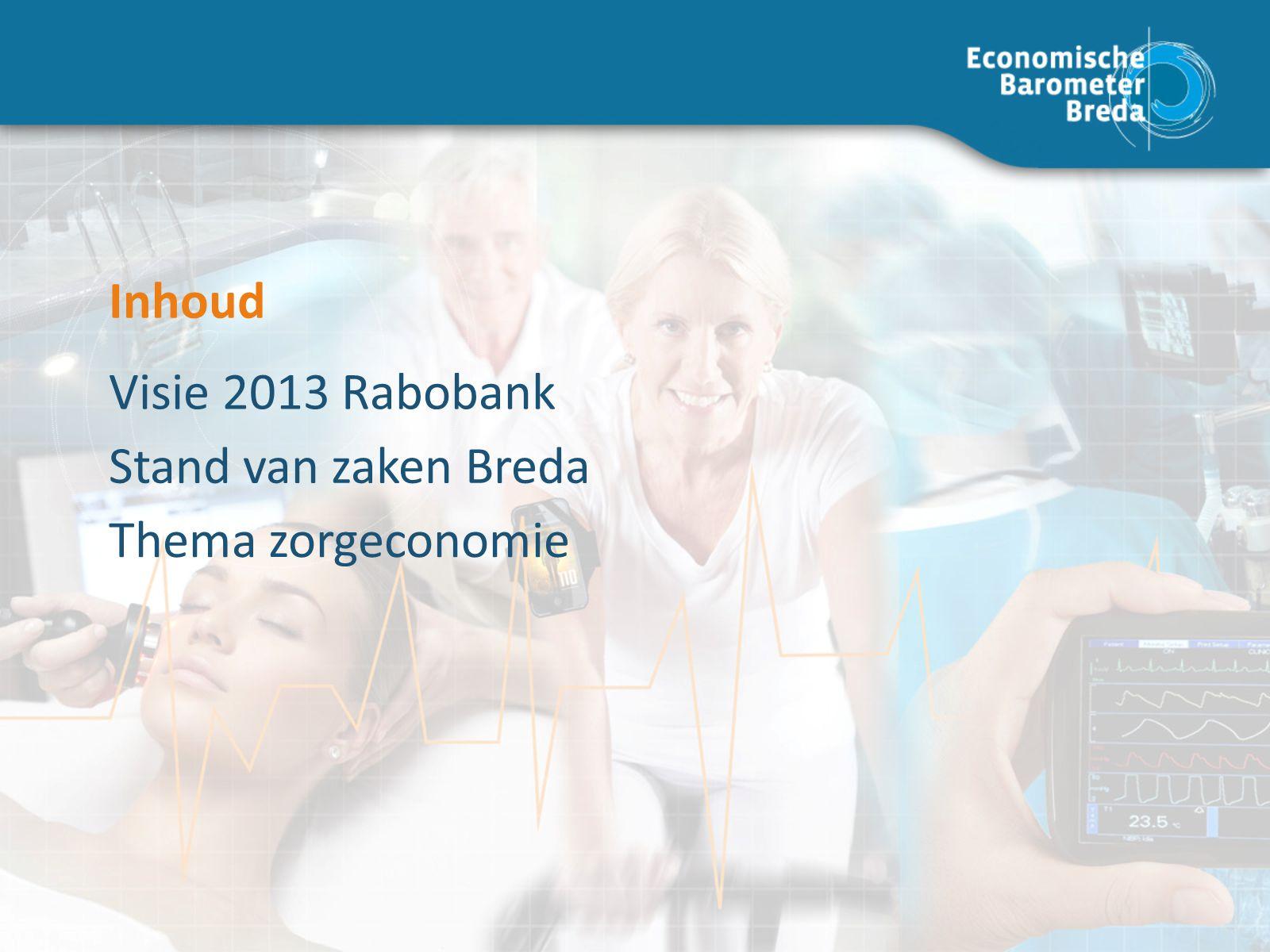 Thema zorgeconomie Stand van zaken Breda Visie 2013 Rabobank Inhoud