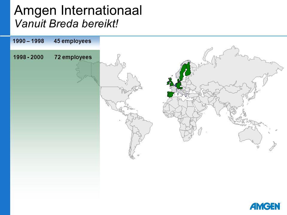 1990 – 1998 1998 - 2000 72 employees 45 employees Amgen Internationaal Vanuit Breda bereikt!
