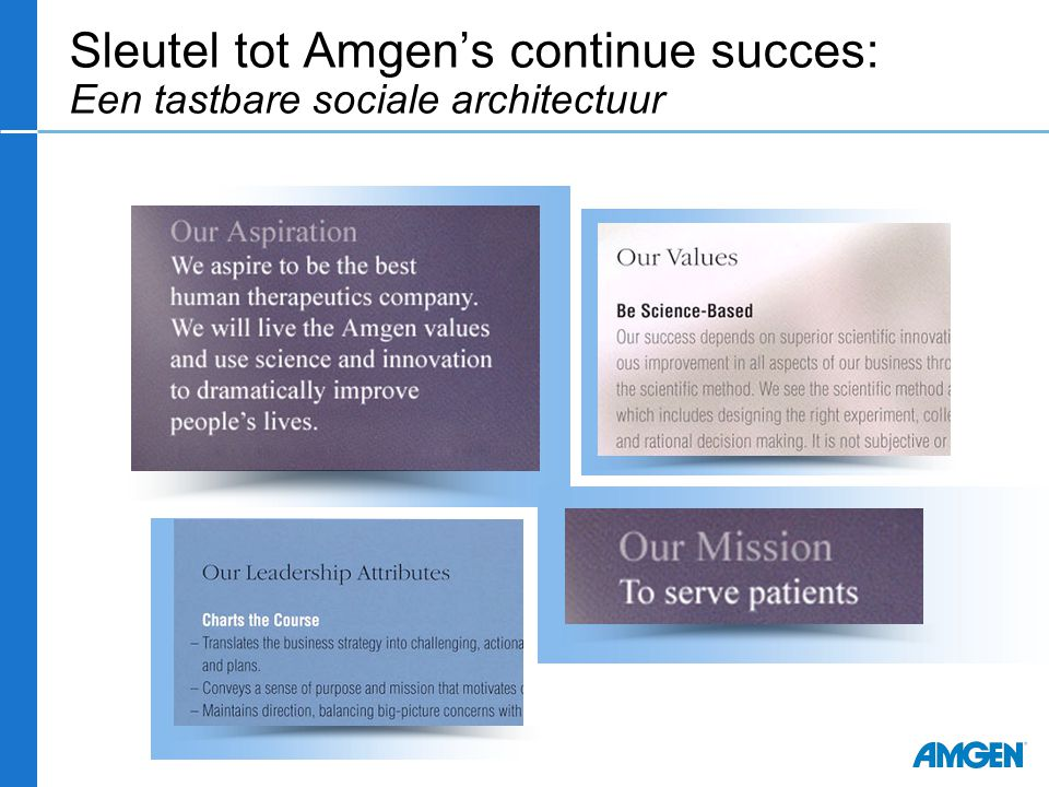 Sleutel tot Amgen's continue succes: Een tastbare sociale architectuur