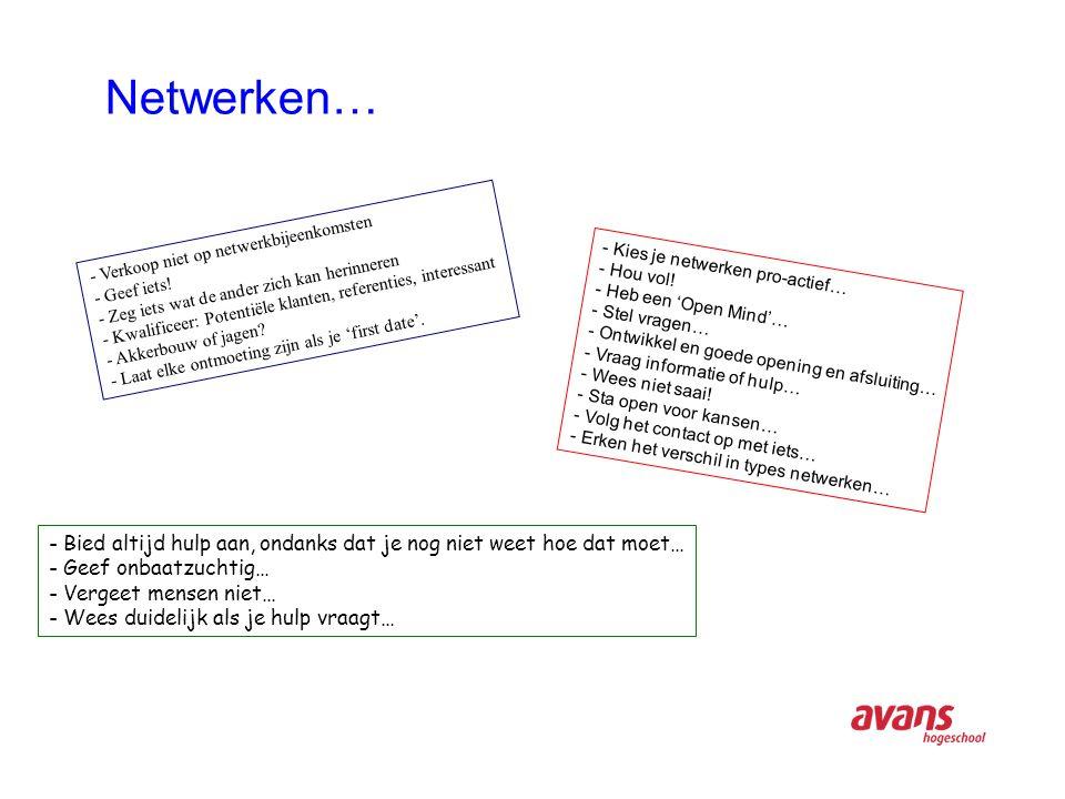 Netwerken… - Verkoop niet op netwerkbijeenkomsten - Geef iets.