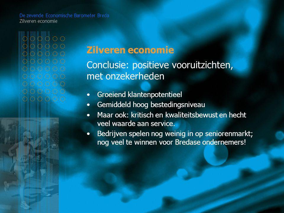 Zilveren economie De zevende Economische Barometer Breda Zilveren economie Groeiend klantenpotentieel Gemiddeld hoog bestedingsniveau Maar ook: kritisch en kwaliteitsbewust en hecht veel waarde aan service.