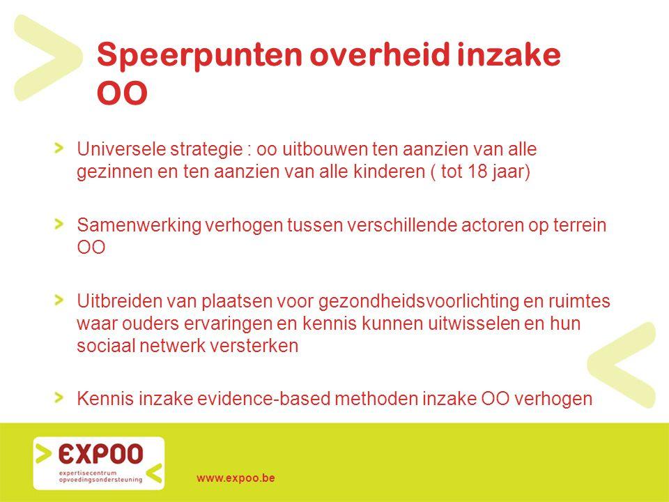 www.expoo.be Speerpunten overheid inzake OO Universele strategie : oo uitbouwen ten aanzien van alle gezinnen en ten aanzien van alle kinderen ( tot 1