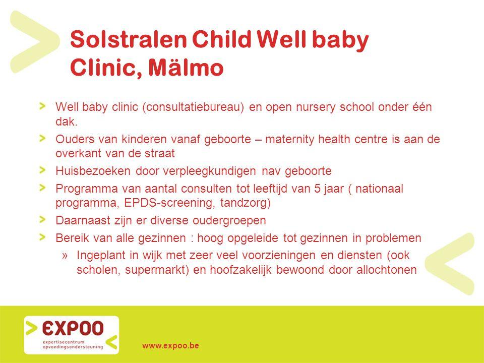 Solstralen Child Well baby Clinic, Mälmo Well baby clinic (consultatiebureau) en open nursery school onder één dak. Ouders van kinderen vanaf geboorte