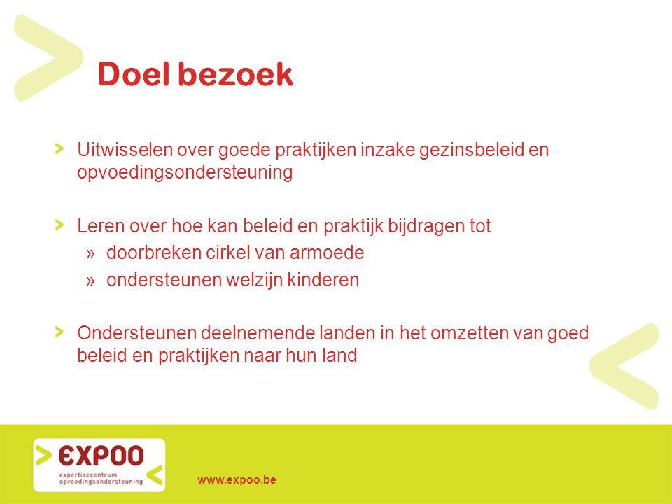 www.expoo.be Doel bezoek Uitwisselen over goede praktijken inzake gezinsbeleid en opvoedingsondersteuning Leren over hoe kan beleid en praktijk bijdra