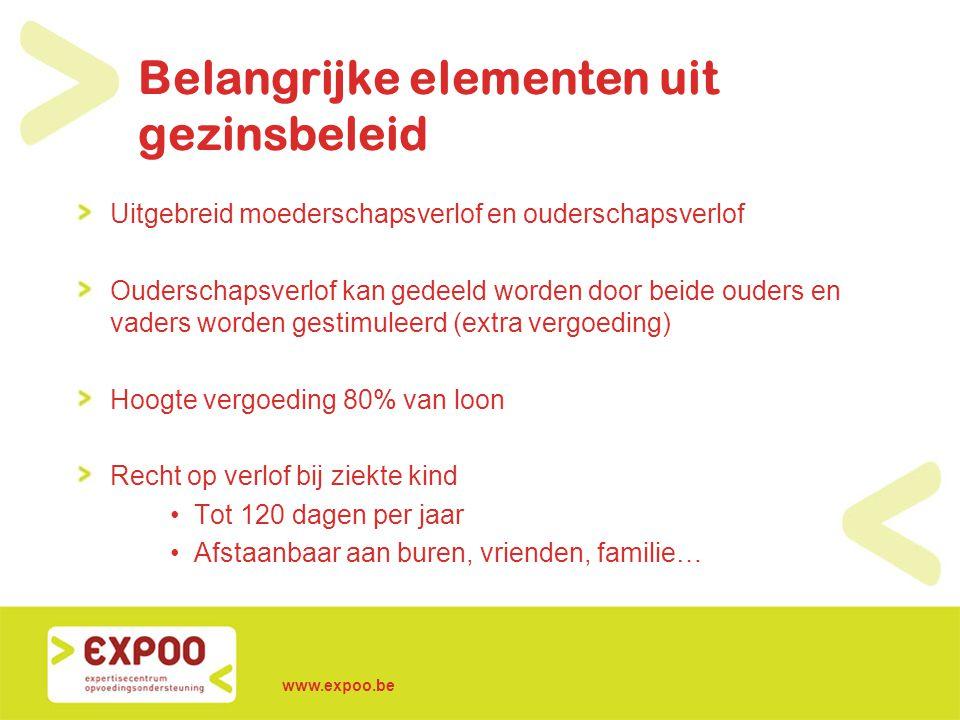 www.expoo.be Belangrijke elementen uit gezinsbeleid Uitgebreid moederschapsverlof en ouderschapsverlof Ouderschapsverlof kan gedeeld worden door beide