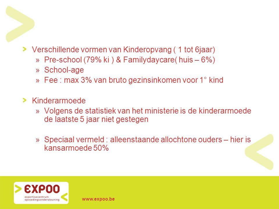 www.expoo.be Verschillende vormen van Kinderopvang ( 1 tot 6jaar) »Pre-school (79% ki ) & Familydaycare( huis – 6%) »School-age »Fee : max 3% van brut