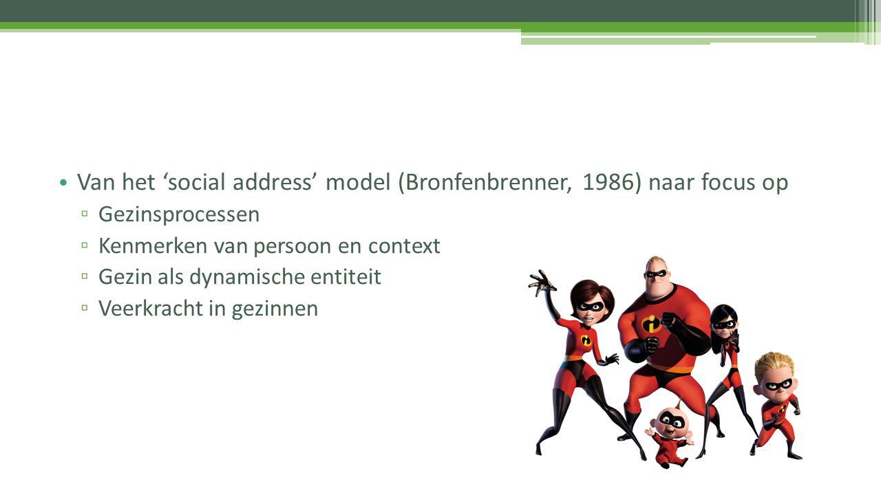 Van het 'social address' model (Bronfenbrenner, 1986) naar focus op ▫ Gezinsprocessen ▫ Kenmerken van persoon en context ▫ Gezin als dynamische entite