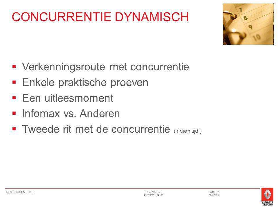 DEPARTMENT AUTHOR NAME PRESENTATION TITLEPAGE 2 02/03/09 CONCURRENTIE DYNAMISCH  Verkenningsroute met concurrentie  Enkele praktische proeven  Een uitleesmoment  Infomax vs.
