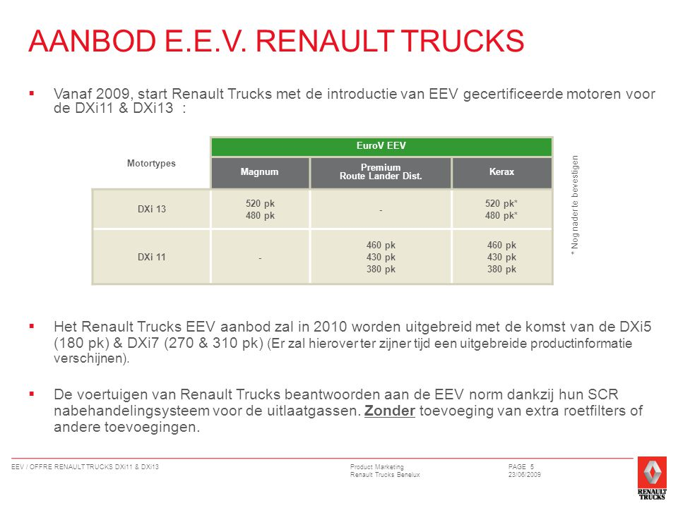 Product Marketing Renault Trucks Benelux EEV / OFFRE RENAULT TRUCKS DXi11 & DXi13PAGE 5 23/06/2009 AANBOD E.E.V.