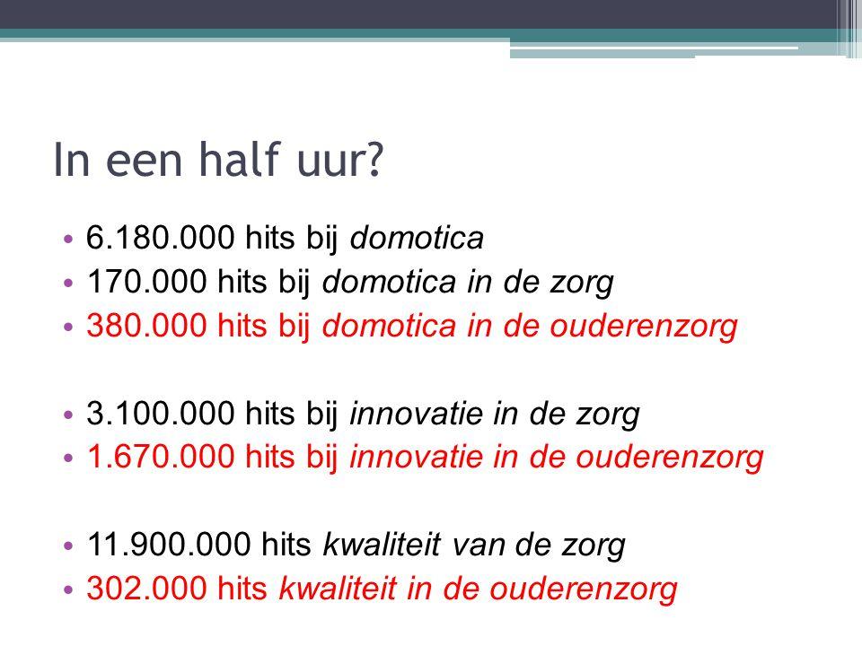 In een half uur? 6.180.000 hits bij domotica 170.000 hits bij domotica in de zorg 380.000 hits bij domotica in de ouderenzorg 3.100.000 hits bij innov
