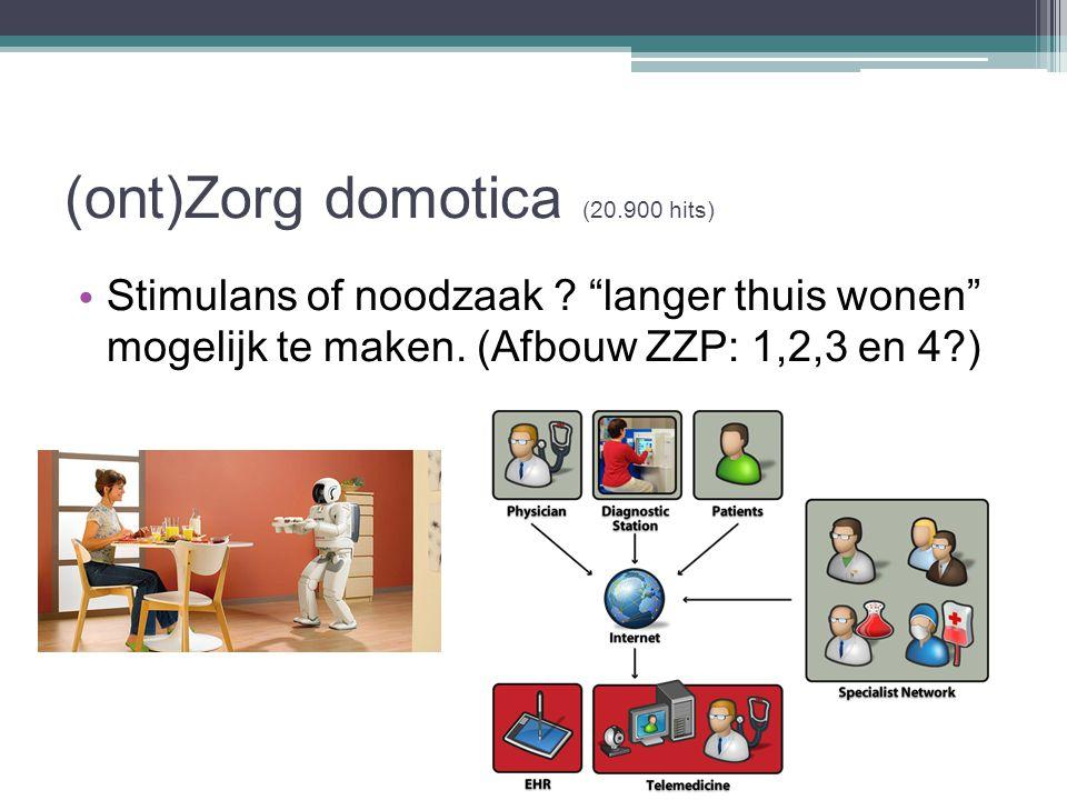 """(ont)Zorg domotica (20.900 hits) Stimulans of noodzaak ? """"langer thuis wonen"""" mogelijk te maken. (Afbouw ZZP: 1,2,3 en 4?)"""