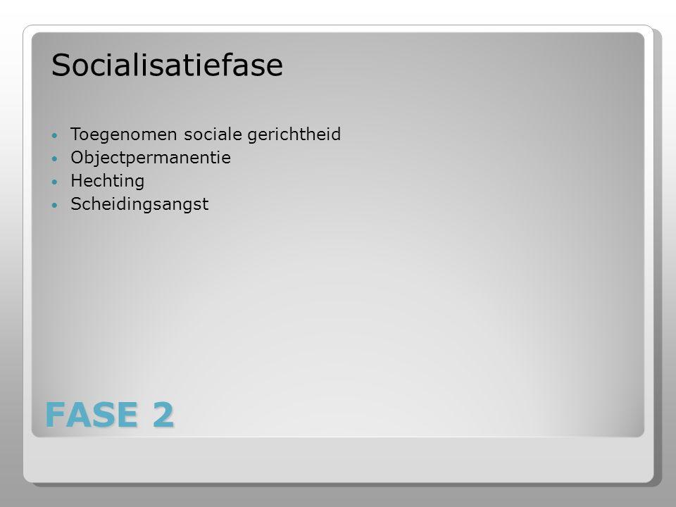 FASE 2 Socialisatiefase Toegenomen sociale gerichtheid Objectpermanentie Hechting Scheidingsangst