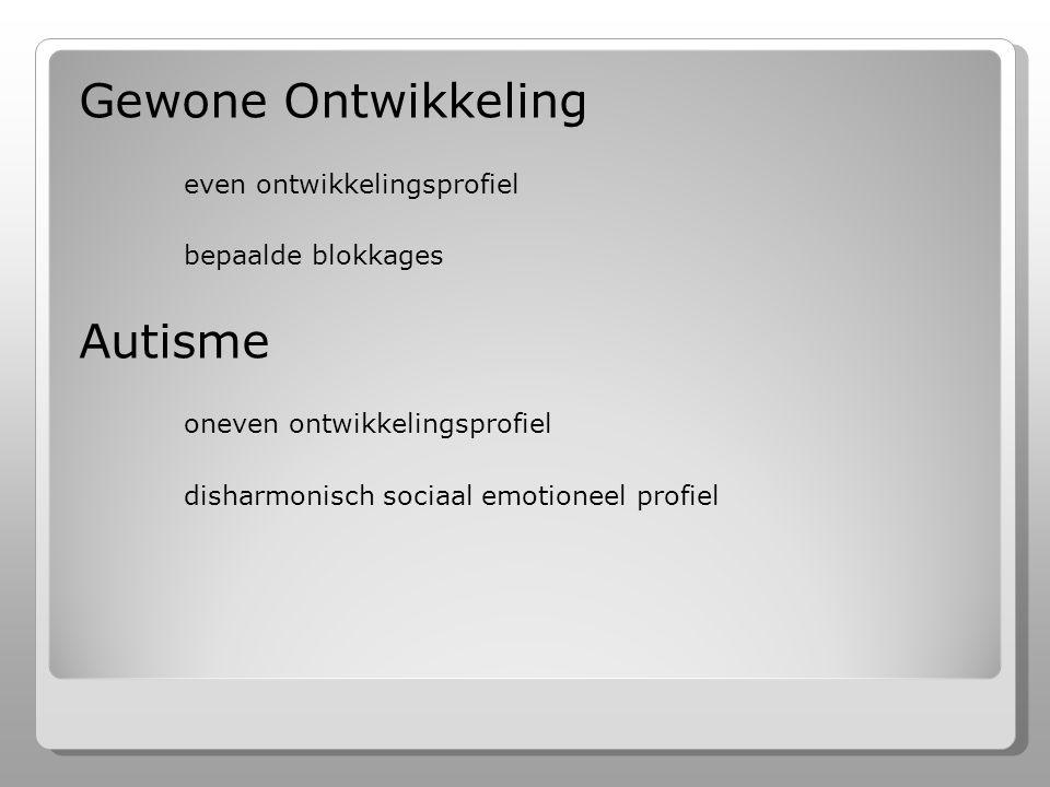 Gewone Ontwikkeling even ontwikkelingsprofiel bepaalde blokkages Autisme oneven ontwikkelingsprofiel disharmonisch sociaal emotioneel profiel