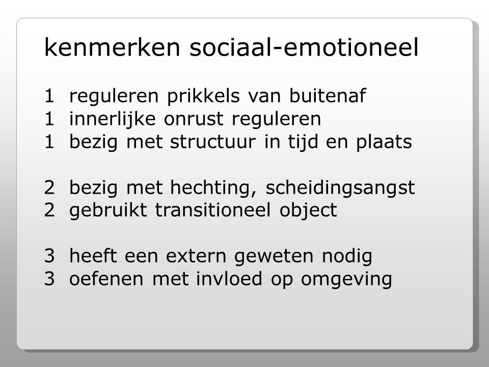 kenmerken sociaal-emotioneel 1 reguleren prikkels van buitenaf 1 innerlijke onrust reguleren 1 bezig met structuur in tijd en plaats 2 bezig met hechting, scheidingsangst 2 gebruikt transitioneel object 3 heeft een extern geweten nodig 3 oefenen met invloed op omgeving