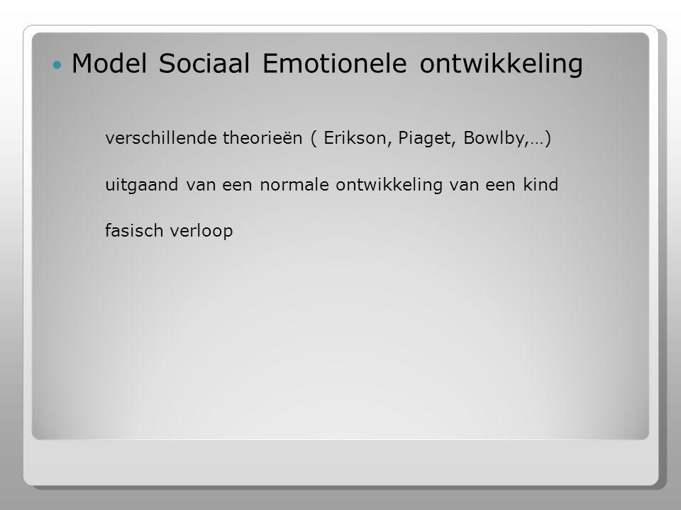 Model Sociaal Emotionele ontwikkeling verschillende theorieën ( Erikson, Piaget, Bowlby,…)  uitgaand van een normale ontwikkeling van een kind fasisch verloop
