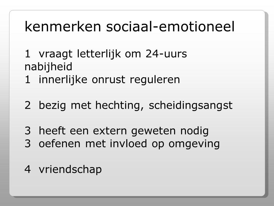 kenmerken sociaal-emotioneel 1 vraagt letterlijk om 24-uurs nabijheid 1 innerlijke onrust reguleren 2 bezig met hechting, scheidingsangst 3 heeft een extern geweten nodig 3 oefenen met invloed op omgeving 4 vriendschap