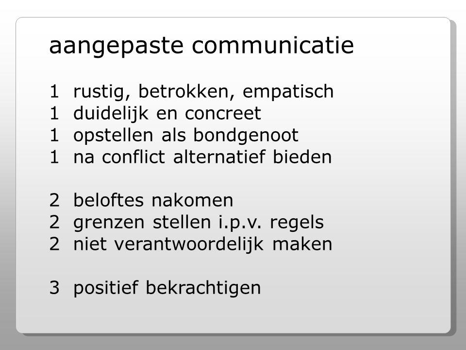 aangepaste communicatie 1 rustig, betrokken, empatisch 1 duidelijk en concreet 1 opstellen als bondgenoot 1 na conflict alternatief bieden 2 beloftes nakomen 2 grenzen stellen i.p.v.