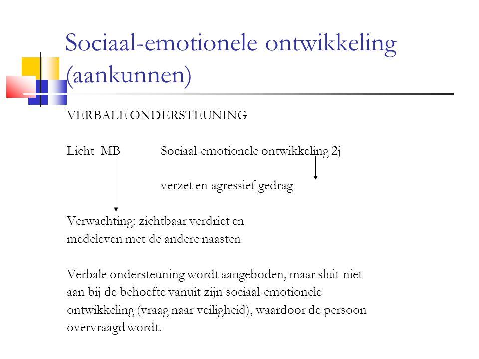 Sociaal-emotionele ontwikkeling (aankunnen) VERBALE ONDERSTEUNING Licht MBSociaal-emotionele ontwikkeling 2j verzet en agressief gedrag Verwachting: zichtbaar verdriet en medeleven met de andere naasten Verbale ondersteuning wordt aangeboden, maar sluit niet aan bij de behoefte vanuit zijn sociaal-emotionele ontwikkeling (vraag naar veiligheid), waardoor de persoon overvraagd wordt.