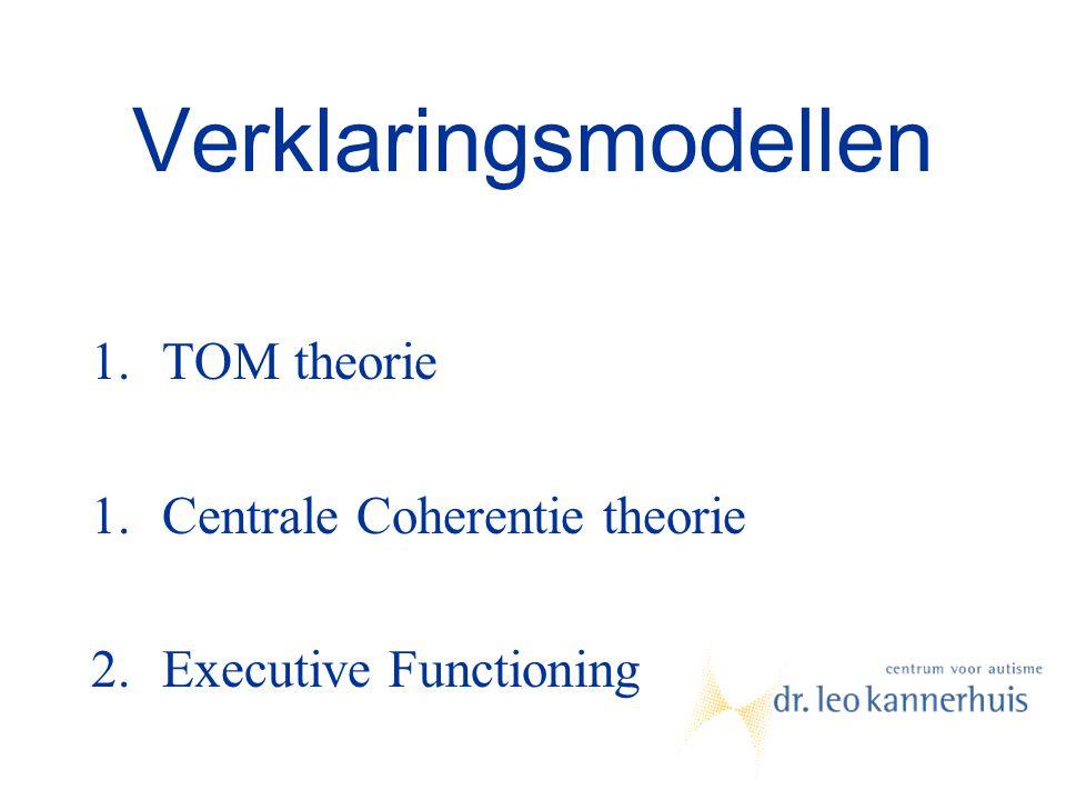 Verklaringsmodellen 1.TOM theorie 1.Centrale Coherentie theorie 2.Executive Functioning