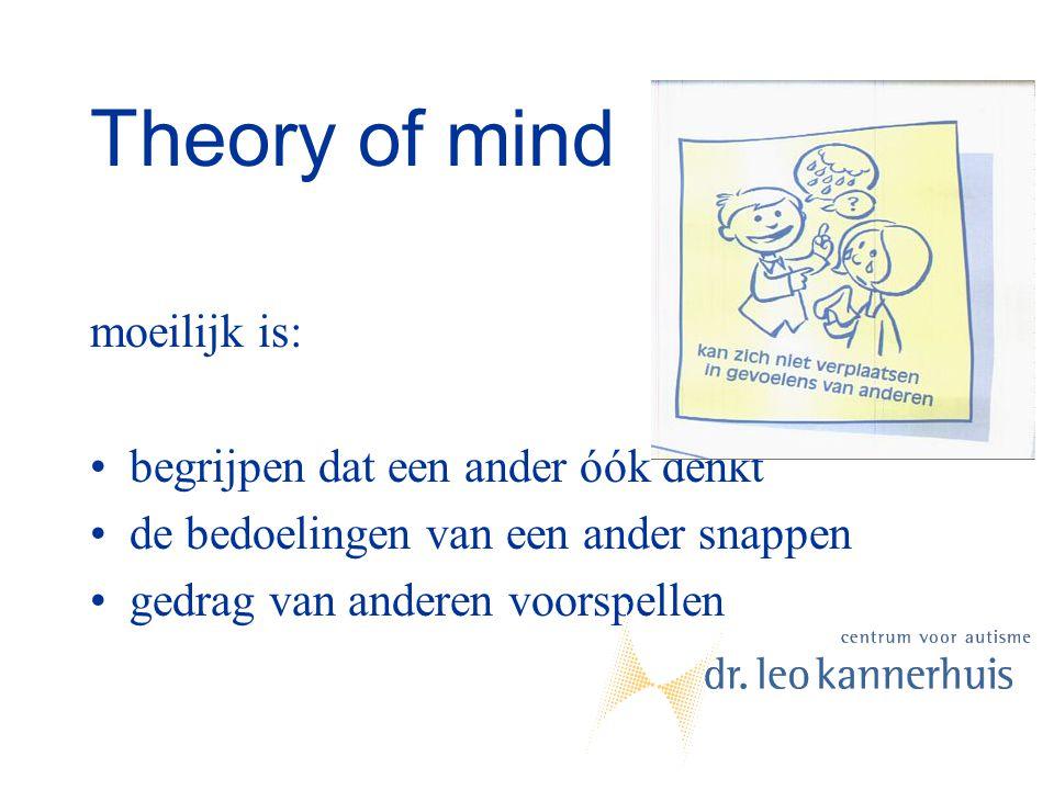 Theory of mind moeilijk is: begrijpen dat een ander óók denkt de bedoelingen van een ander snappen gedrag van anderen voorspellen