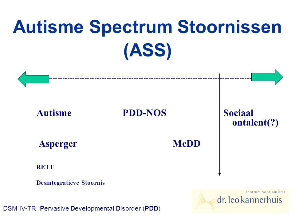 Autisme Spectrum Stoornissen (ASS) ------------------------------------------------------------------------------------------------------- AutismePDD-