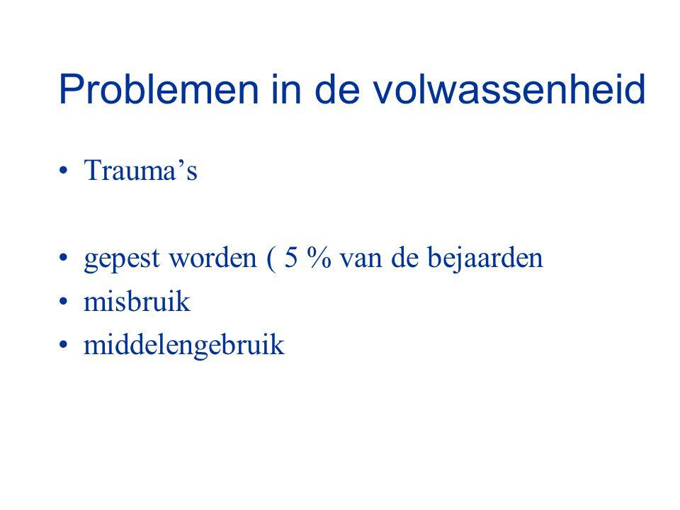 Problemen in de volwassenheid Trauma's gepest worden ( 5 % van de bejaarden misbruik middelengebruik