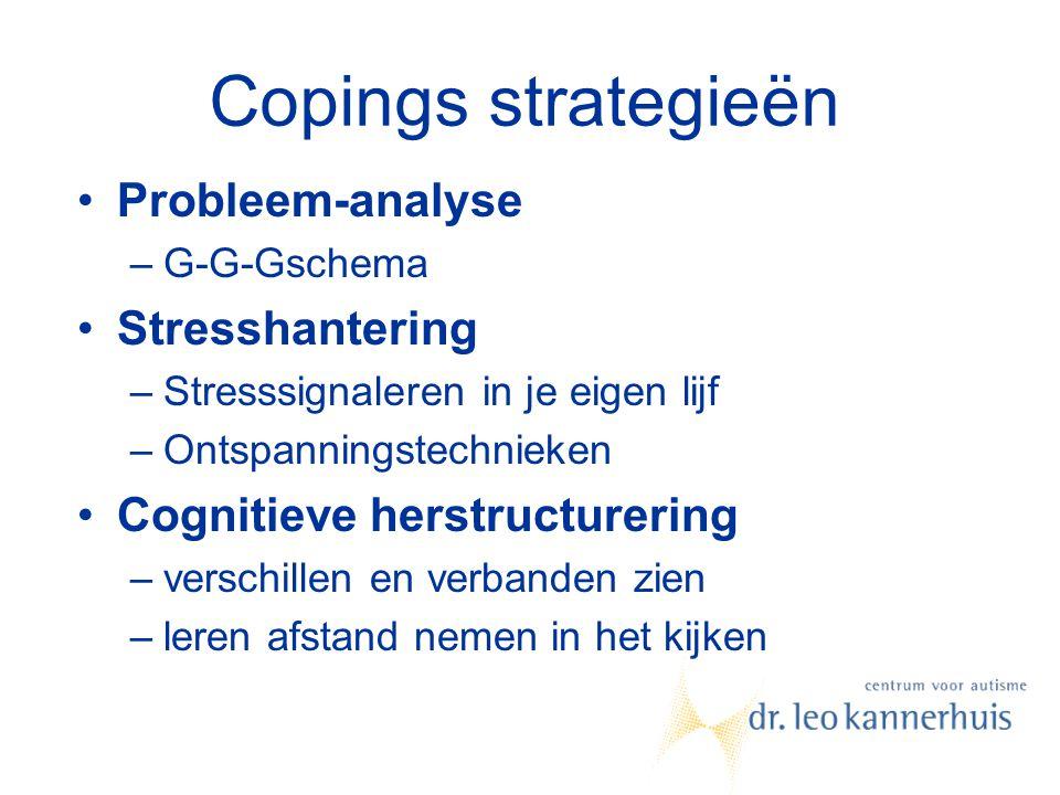 Copings strategieën Probleem-analyse –G-G-Gschema Stresshantering –Stresssignaleren in je eigen lijf –Ontspanningstechnieken Cognitieve herstructureri