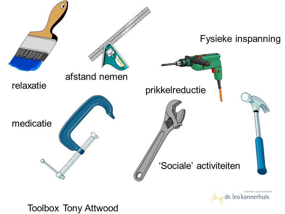 relaxatie Fysieke inspanning 'Sociale' activiteiten medicatie prikkelreductie afstand nemen Toolbox Tony Attwood