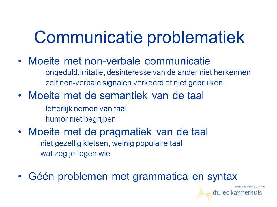 Communicatie problematiek Moeite met non-verbale communicatie ongeduld,irritatie, desinteresse van de ander niet herkennen zelf non-verbale signalen v