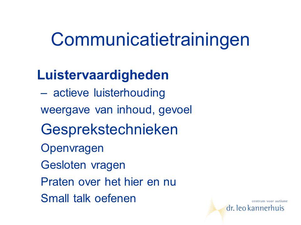 Communicatietrainingen Luistervaardigheden – actieve luisterhouding weergave van inhoud, gevoel Gesprekstechnieken Openvragen Gesloten vragen Praten o
