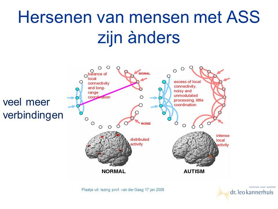 Hersenen van mensen met ASS zijn ànders Plaatje uit: lezing prof. van der Gaag 17 jan.2008 veel meer verbindingen